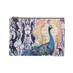 Damask French Scripts  Purple Peacock Floral Paris Decor Cosmetic Bag (large)