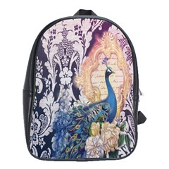 Damask French Scripts  Purple Peacock Floral Paris Decor School Bag (large) by chicelegantboutique
