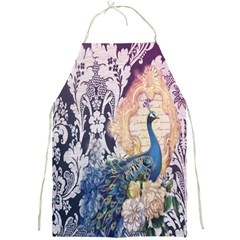 Damask French Scripts  Purple Peacock Floral Paris Decor Apron by chicelegantboutique