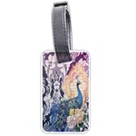Damask French Scripts  Purple Peacock Floral Paris Decor Luggage Tag (One Side) Front