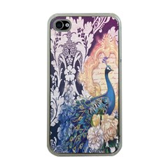 Damask French Scripts  Purple Peacock Floral Paris Decor Apple Iphone 4 Case (clear) by chicelegantboutique