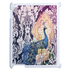 Damask French Scripts  Purple Peacock Floral Paris Decor Apple Ipad 2 Case (white) by chicelegantboutique