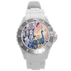 Damask French Scripts  Purple Peacock Floral Paris Decor Plastic Sport Watch (large) by chicelegantboutique