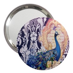 Damask French Scripts  Purple Peacock Floral Paris Decor 3  Handbag Mirror by chicelegantboutique