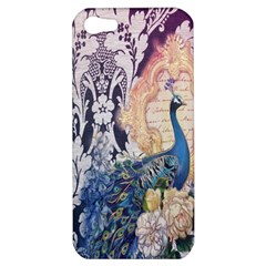 Damask French Scripts  Purple Peacock Floral Paris Decor Apple Iphone 5 Hardshell Case by chicelegantboutique