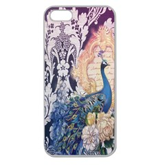 Damask French Scripts  Purple Peacock Floral Paris Decor Apple Seamless Iphone 5 Case (clear) by chicelegantboutique