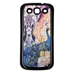 Damask French Scripts  Purple Peacock Floral Paris Decor Samsung Galaxy S3 Back Case (black) by chicelegantboutique
