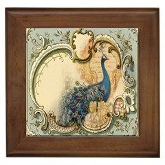 Victorian Swirls Peacock Floral Paris Decor Framed Ceramic Tile by chicelegantboutique