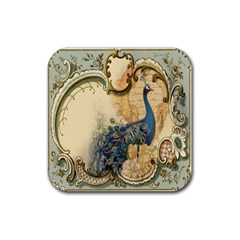 Victorian Swirls Peacock Floral Paris Decor Drink Coaster (square) by chicelegantboutique