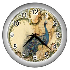 Victorian Swirls Peacock Floral Paris Decor Wall Clock (silver) by chicelegantboutique