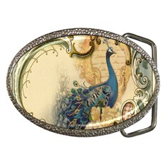 Victorian Swirls Peacock Floral Paris Decor Belt Buckle (oval) by chicelegantboutique