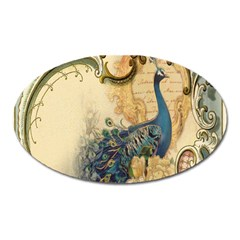 Victorian Swirls Peacock Floral Paris Decor Magnet (oval) by chicelegantboutique