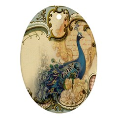 Victorian Swirls Peacock Floral Paris Decor Oval Ornament (two Sides) by chicelegantboutique