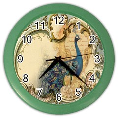 Victorian Swirls Peacock Floral Paris Decor Wall Clock (color)