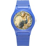 Victorian Swirls Peacock Floral Paris Decor Plastic Sport Watch (Small) Front