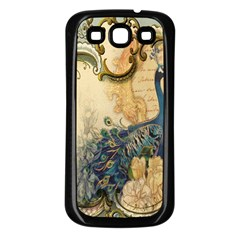 Victorian Swirls Peacock Floral Paris Decor Samsung Galaxy S3 Back Case (black) by chicelegantboutique