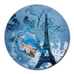 Girly Blue Bird Vintage Damask Floral Paris Eiffel Tower 8  Mouse Pad (round) by chicelegantboutique