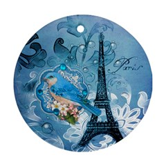 Girly Blue Bird Vintage Damask Floral Paris Eiffel Tower Round Ornament by chicelegantboutique