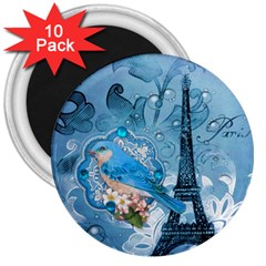 Girly Blue Bird Vintage Damask Floral Paris Eiffel Tower 3  Button Magnet (10 Pack) by chicelegantboutique