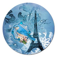 Girly Blue Bird Vintage Damask Floral Paris Eiffel Tower Magnet 5  (round) by chicelegantboutique