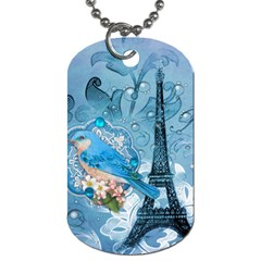 Girly Blue Bird Vintage Damask Floral Paris Eiffel Tower Dog Tag (one Sided) by chicelegantboutique