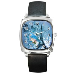 Girly Blue Bird Vintage Damask Floral Paris Eiffel Tower Square Leather Watch by chicelegantboutique