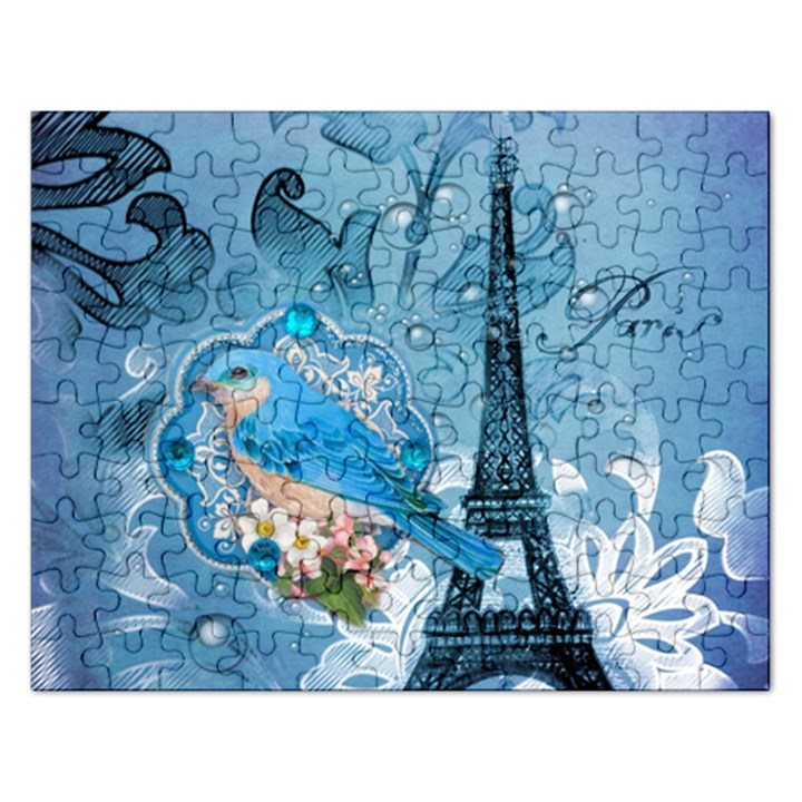Girly Blue Bird Vintage Damask Floral Paris Eiffel Tower Jigsaw Puzzle (Rectangle)