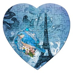 Girly Blue Bird Vintage Damask Floral Paris Eiffel Tower Jigsaw Puzzle (heart) by chicelegantboutique