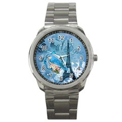 Girly Blue Bird Vintage Damask Floral Paris Eiffel Tower Sport Metal Watch by chicelegantboutique
