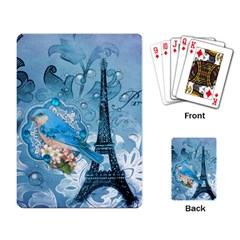Girly Blue Bird Vintage Damask Floral Paris Eiffel Tower Playing Cards Single Design by chicelegantboutique
