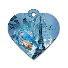 Girly Blue Bird Vintage Damask Floral Paris Eiffel Tower Dog Tag Heart (two Sided) by chicelegantboutique