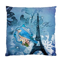 Girly Blue Bird Vintage Damask Floral Paris Eiffel Tower Cushion Case (two Sided)  by chicelegantboutique