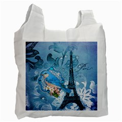Girly Blue Bird Vintage Damask Floral Paris Eiffel Tower Recycle Bag (two Sides) by chicelegantboutique