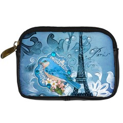 Girly Blue Bird Vintage Damask Floral Paris Eiffel Tower Digital Camera Leather Case by chicelegantboutique