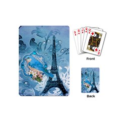 Girly Blue Bird Vintage Damask Floral Paris Eiffel Tower Playing Cards (mini) by chicelegantboutique