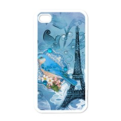 Girly Blue Bird Vintage Damask Floral Paris Eiffel Tower Apple Iphone 4 Case (white) by chicelegantboutique