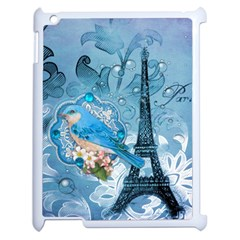 Girly Blue Bird Vintage Damask Floral Paris Eiffel Tower Apple Ipad 2 Case (white) by chicelegantboutique