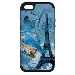 Girly Blue Bird Vintage Damask Floral Paris Eiffel Tower Apple Iphone 5 Hardshell Case (pc+silicone) by chicelegantboutique