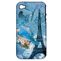 Girly Blue Bird Vintage Damask Floral Paris Eiffel Tower Apple Iphone 4/4s Hardshell Case (pc+silicone) by chicelegantboutique