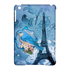 Girly Blue Bird Vintage Damask Floral Paris Eiffel Tower Apple Ipad Mini Hardshell Case (compatible With Smart Cover) by chicelegantboutique