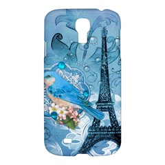 Girly Blue Bird Vintage Damask Floral Paris Eiffel Tower Samsung Galaxy S4 I9500/i9505 Hardshell Case by chicelegantboutique