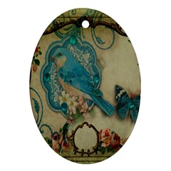 Victorian Girly Blue Bird Vintage Damask Floral Paris Eiffel Tower Oval Ornament by chicelegantboutique