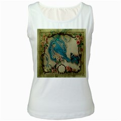 Victorian Girly Blue Bird Vintage Damask Floral Paris Eiffel Tower Womens  Tank Top (white) by chicelegantboutique
