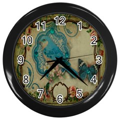 Victorian Girly Blue Bird Vintage Damask Floral Paris Eiffel Tower Wall Clock (black) by chicelegantboutique