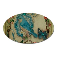 Victorian Girly Blue Bird Vintage Damask Floral Paris Eiffel Tower Magnet (oval) by chicelegantboutique