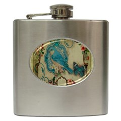 Victorian Girly Blue Bird Vintage Damask Floral Paris Eiffel Tower Hip Flask by chicelegantboutique