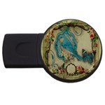 Victorian Girly Blue Bird Vintage Damask Floral Paris Eiffel Tower 2GB USB Flash Drive (Round) Front