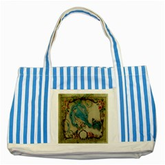 Victorian Girly Blue Bird Vintage Damask Floral Paris Eiffel Tower Blue Striped Tote Bag by chicelegantboutique