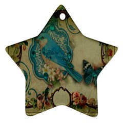 Victorian Girly Blue Bird Vintage Damask Floral Paris Eiffel Tower Star Ornament (two Sides) by chicelegantboutique