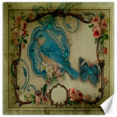 Victorian Girly Blue Bird Vintage Damask Floral Paris Eiffel Tower Canvas 16  X 16  (unframed) by chicelegantboutique